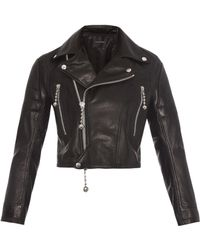 Undercover Cropped Tassel Leather Biker Jacket - Lyst