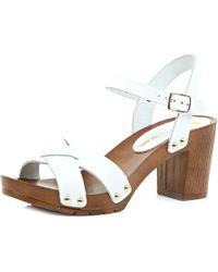 River Island White Strappy Wooden Heel Sandals - Lyst