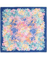 Ferragamo Foulard Ginkos Floral Square Silk Scarf - Lyst