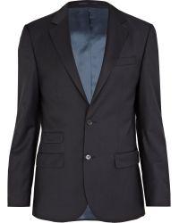 River Island Navy Slim Fit Suit Jacket - Blue