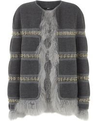 Chloé Reversible Chain and Shearling Jacket - Grey
