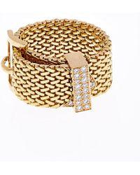 Aurelie Bidermann Diamond & Yellow-Gold Belt Ring gold - Lyst