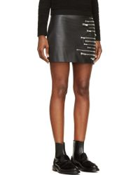 Jay Ahr Black Leather Multi Zipper Skirt - Lyst