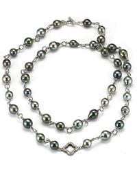 David Yurman Pre-Owned: Sterling Silver And Black Rhodium Tahitian Pearl Necklace With Diamond Link And Toggle - Lyst