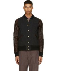 Visvim Black Tweed and Leather Barnstorm Bomber Jacket - Lyst