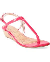 Rampage Selery Demi Wedge Thong Sandals - Lyst