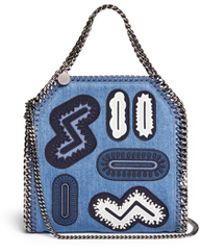 Stella McCartney 'Falabella' Mini Embroidery Patch Denim Tote blue - Lyst
