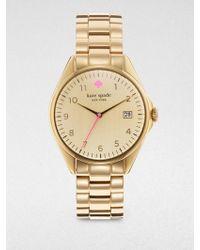 Kate Spade Seaport Grand Goldtone Stainless Steel Bracelet Watch - Lyst