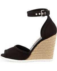 Prada Gabardine Rope Wedge Sandal - Black