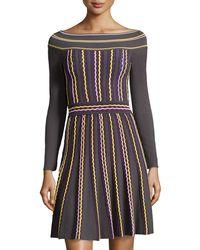 M Missoni Stripe Knit Boat-Neck Dress - Lyst
