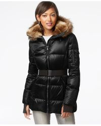 S13/nyc - Alps Faux-fur-hood Belted Down Puffer Coat - Lyst