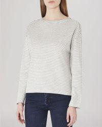 Reiss Top - Firenze Striped Jersey white - Lyst