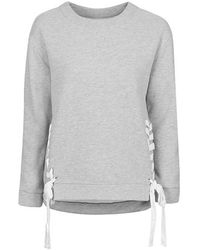 Topshop Lace Up Sweat gray - Lyst