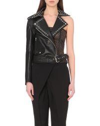 Jean Paul Gaultier Leather One-Shoulder Cut-Out Biker Jacket - Lyst