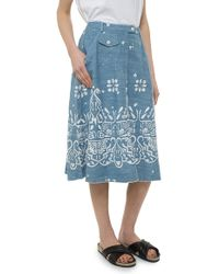 Sea Embroidered A Line Skirt - Lyst