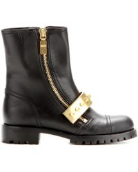 Alexander McQueen Metal-Trimmed Leather Biker Boots - Black