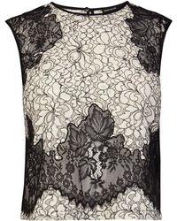 Karen Millen Fine Lace Applique Patchwork Top - Lyst