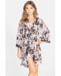 Betsey Johnson Lace-Trim Printed Chiffon Robe - Lyst