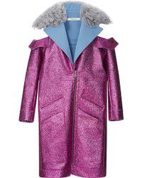 Rodarte Fuchsia Glitter Coat with Shearling Trim - Purple