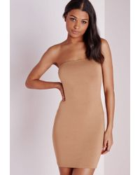 Missguided Jersey Bandeau Bodycon Dress Camel - Natural