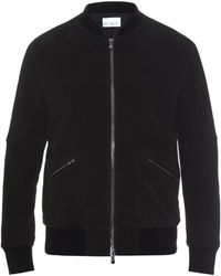 Raey - Knitted-rib Suede Bomber Jacket - Lyst