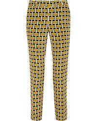 Fendi Printed Silk Tapered Pants - Lyst