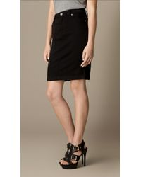 Burberry Black Stretch Denim Pencil Skirt - Lyst