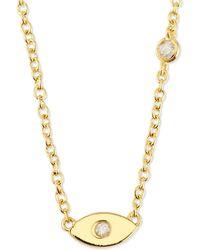 Shy By Sydney Evan - Evil Eye Pendant Bezel Diamond Necklace - Lyst