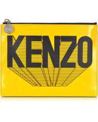 KENZO - Bicolor Eiffel Tower & Print Leather Clutch - Lyst