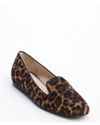 Prada Brown Leopard Print Calf Hair Slip-On Loafers - Lyst