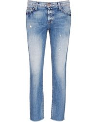Current/Elliott | 'the Unrolled Fling' Distressed Jeans | Lyst