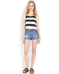 Forever 21 Nautical Cropped Sweater - Natural