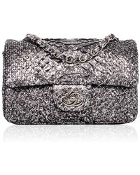 Madison Avenue Couture - Chanel Silver Python Mini Classic 2.55 Flap Bag - Lyst