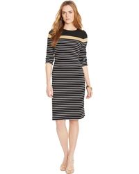 Lauren by Ralph Lauren Petite Cotton Striped Dress - Lyst