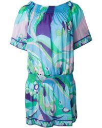 Emilio Pucci Printed Off Shoulder Dress - Lyst