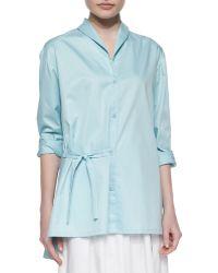 Tibi Satin Long-Sleeve Shawl-Collar Shirt - Lyst