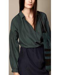 Burberry Colour Block Silk Shirt Dress - Lyst
