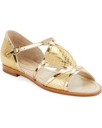 Pollini Metallic Leather Flat Sandals - Lyst