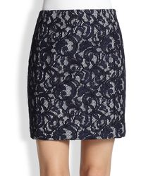 Carven Lace-overlay Gingham Skirt - Lyst
