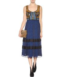 Burberry Prorsum Printed Embellished Lace Dress - Blue