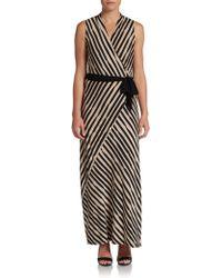 Ellen Tracy Striped Maxi Dress - Black