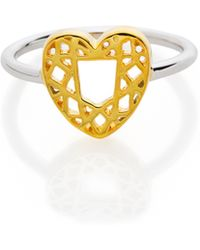 Lestie Lee Heart Diamond Charm Ring - Metallic