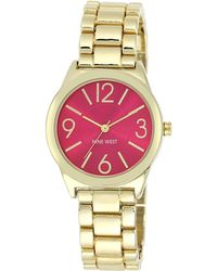 Nine West Ladies Quartz Goldtone Bracelet Watch - Red