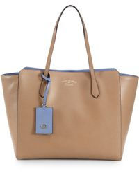 Gucci Swing Leather Tote - Natural