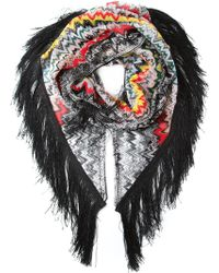 Missoni Fringed Zig Zag Knit Scarf multicolor - Lyst