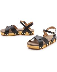 Flogg Nessy Ankle Strap Flat Sandals Brown - Lyst