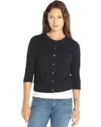 525 America Navy Pima Cotton Knit Cardigan Sweater - Lyst