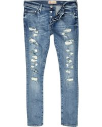 River Island Light Wash Ripped Danny Superskinny Jeans - Lyst
