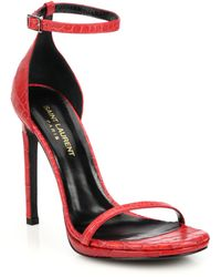 Saint Laurent Croc-Embossed Leather Jane Sandals - Lyst
