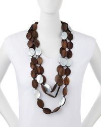 Viktoria Hayman - Tiger Wood & Mother-of-pearl Triple Strand Necklace - Lyst